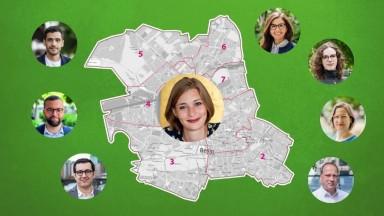 Karte von Mitte mit den Köpfen der Kandidierenden.