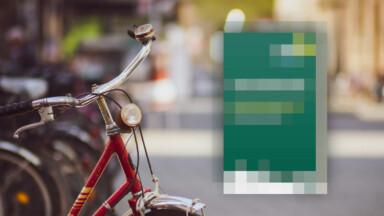 Ein verpixeltes Walprogramm steht neben einem Fahrrad.